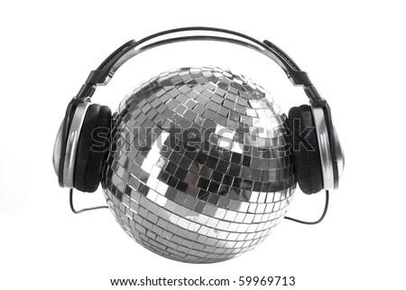 shiny disco ball with dj headphones - stock photo