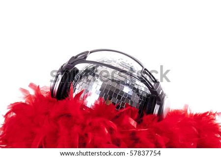 shiny disco ball with red boa - stock photo