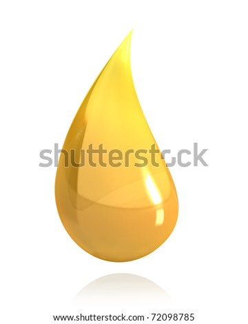 Shiny drop of honey or oil isolated on white background - stock photo