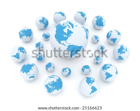 Shiny earth globes placed randomly on white background.