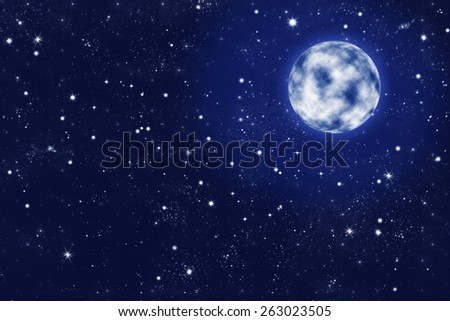 shiny full moon on blue starry night sky illustration - stock photo