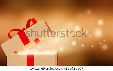 Shiny Gift box.  - stock photo