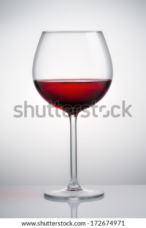 Shiny glass with red wine