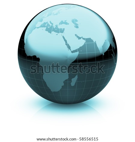 Shiny globe marble with highly detailed continents and geographical grid  facing Africa and Near East - stock photo