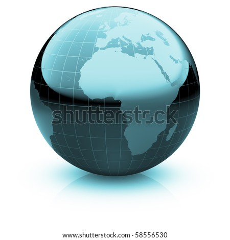 Shiny globe marble with highly detailed continents and geographical grid  facing  Africa and the Atlantic - stock photo