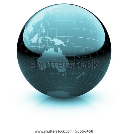 Shiny globe marble with highly detailed continents and geographical grid  facing Australia and Oceania
