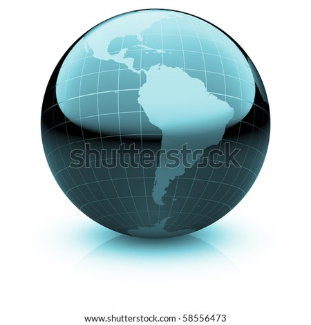 Shiny globe marble with highly detailed continents and geographical grid  facing  South America - stock photo