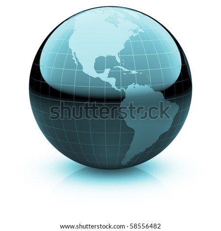 Shiny globe marble with highly detailed continents and geographical grid  facing  the Americas - stock photo