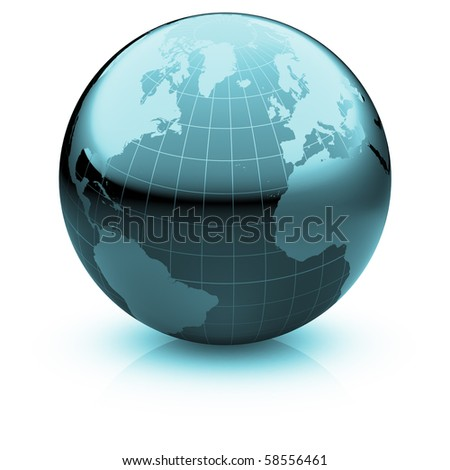 Shiny globe marble with highly detailed continents and geographical grid  facing the Atlantic ocean - stock photo