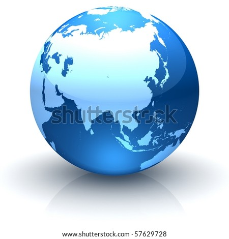 Shiny globe marble with highly detailed continents facing Asia - stock photo