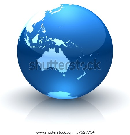 Shiny globe marble with highly detailed continents facing Australia - stock photo
