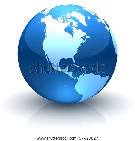 Shiny globe marble with highly detailed continents facing North America - stock photo