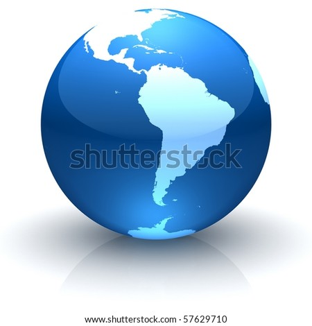 Shiny globe marble with highly detailed continents facing South America - stock photo
