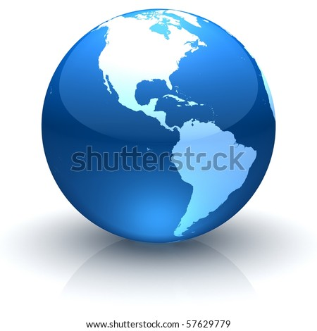 Shiny globe marble with highly detailed continents facing the Americas - stock photo