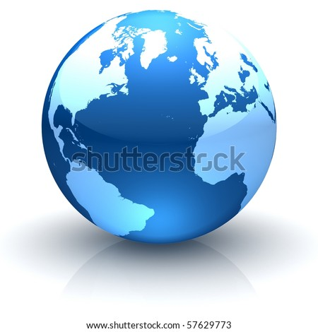 Shiny globe marble with highly detailed continents facing the Northern Hemisphere - stock photo