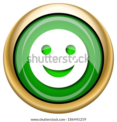 Shiny glossy green and gold icon - internet button