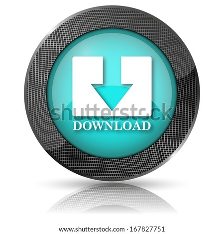 Shiny glossy icon with white design on aqua background - stock photo