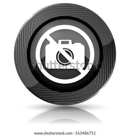Shiny glossy icon with white design on black background - stock photo