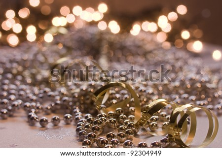 shiny gold and silver pearls - stock photo