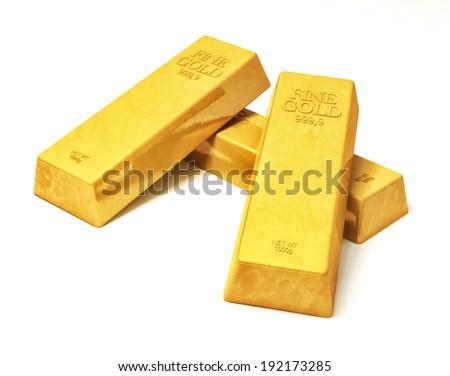 Shiny gold bars isolated over white background  - stock photo