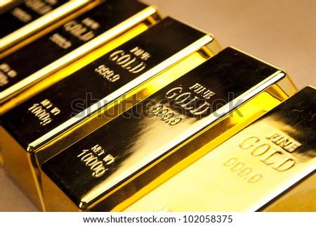 Shiny Gold bars photo - stock photo