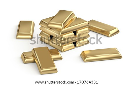 Shiny gold bars stacked an scattered on white background - stock photo