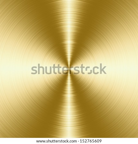 Shiny, gold brushed metal texture, background with copy space - stock photo