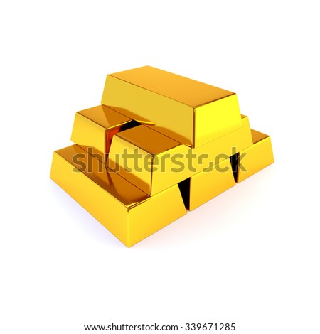 Shiny gold ingots on a white background. Business success concept. 3D illustration, render. - stock photo