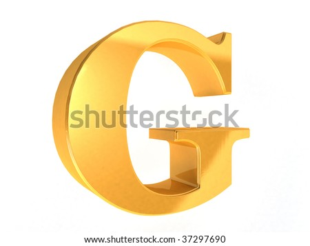 shiny gold letter G on a white  background - 3d rendering