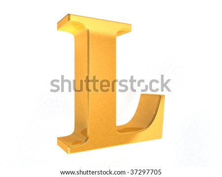 shiny gold letter L on a white  background - 3d rendering - stock photo