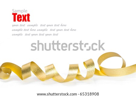 Shiny gold ribbon bow on white background with copy space - stock photo