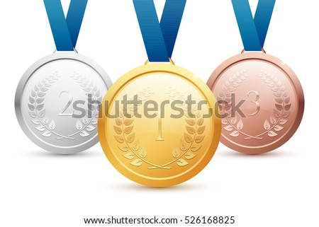 Shiny gold, silver and bronze medal set with blue ribbons