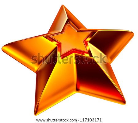 shiny gold star for advertise on a white background - stock photo