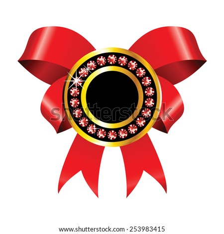 shiny golden badge with red ribbon and jewels - stock photo