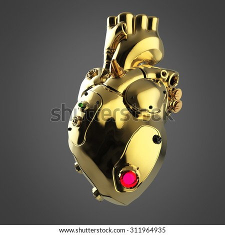 Shiny golden cyborg techno heart with shiny golden details and colored glass indicators, front view with perspective on - stock photo