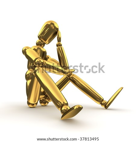 shiny golden lay figure sitting on a white ground thinking - stock photo