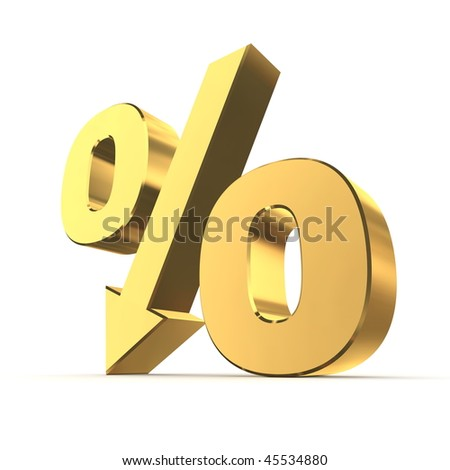 shiny golden percentage symbol with an arrow down - stock photo