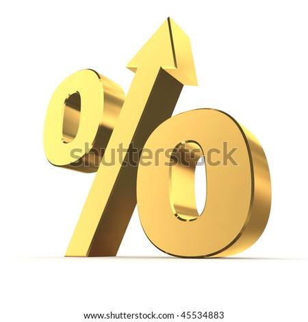 shiny golden percentage symbol with an arrow up - stock photo