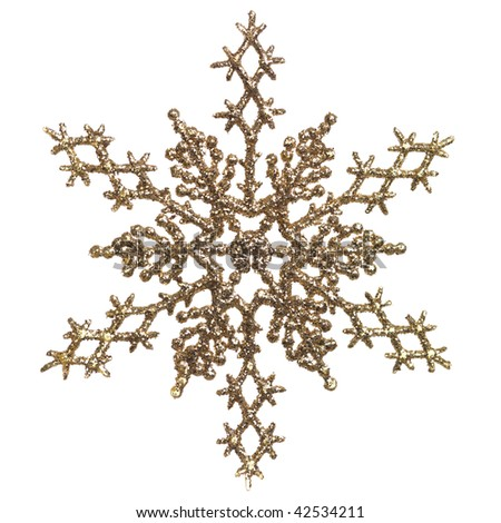 Shiny golden snowflake ornament Christmas tree decoration isolated on white background - stock photo