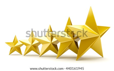 Shiny golden stars - 3D rendering - stock photo