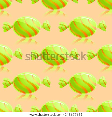 Shiny Green Candies Seamless Pattern on Yellow background - stock photo