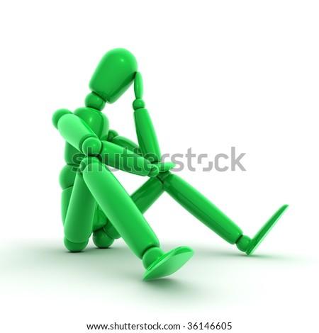 shiny green lay figure sitting on a white ground thinking - stock photo