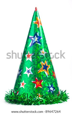 Shiny green party hat on white background - stock photo
