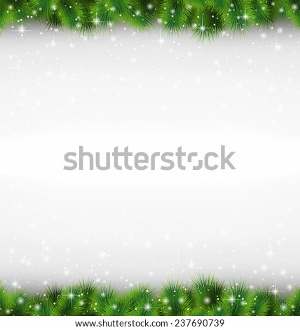 Shiny green pine branches like frame in snowfall on grayscale background - stock photo