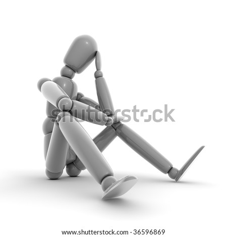 shiny grey lay figure sitting on a white ground thinking - stock photo