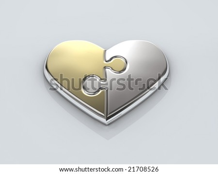 shiny heart from two parts - stock photo