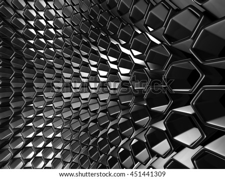 Shiny Hexagon Pattern Dark Metallic Silver Background. 3d Render Illustration - stock photo