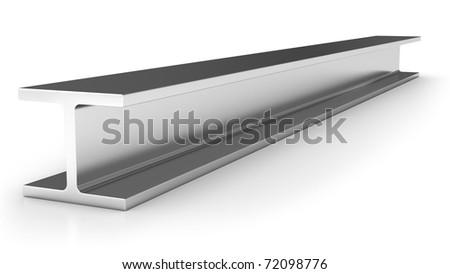 Shiny iron joist isolated on white background - stock photo