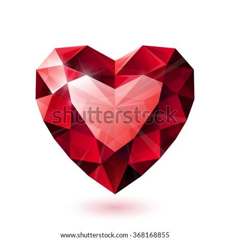 Shiny isolated red ruby heart shape on white background - stock photo