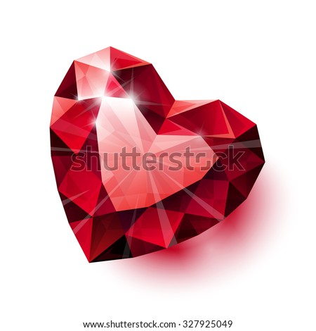 Shiny isolated red ruby heart shape with shadow on white background - stock photo